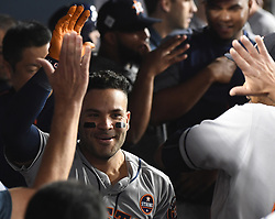 October 25, 2017 - Los Angeles, California, U.S. - Houston Astros' Jose Altuve celebrates after hitting a solo home run against the Los Angeles Dodgers in the tenth inning of game two of a World Series baseball game at Dodger Stadium on Wednesday, Oct. 25, 2017 in Los Angeles. Houston Astros won 7-6 in 11 innings. (Photo by Keith Birmingham, Pasadena Star-News/SCNG) (Credit Image: © San Gabriel Valley Tribune via ZUMA Wire)