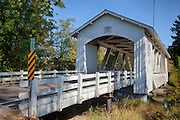 USA, Oregon, Scio, the Larwood Bridge, covered bridge over Crabtree Creek in early Autumn. Digital Composite, HDR