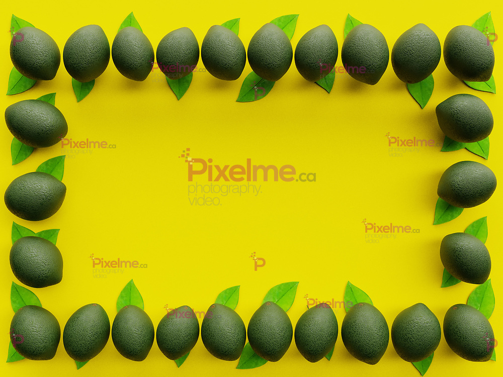 Green Lime group forming a frame viewed from above with vibrant Yellow background in minimalism flatlay with copyspace - 3d rendering concept