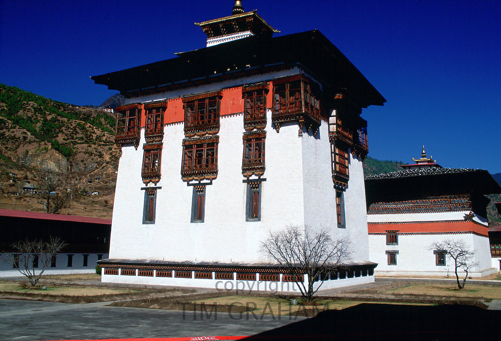 Tashichho Dzong the home of the Government, the Royal Palace and the Religious Centre, Thimpu, Bhutan