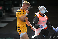 Rugby Union - 2019 / 202 Gallagher Premiership - Saracens vs Wasps<br /> <br /> Charlie Atkinson of Wasps leaves the field injured after being tackled by Owen Farrel who received the red card   , at Allianz Park.<br /> <br /> COLORSPORT/ANDREW COWIE