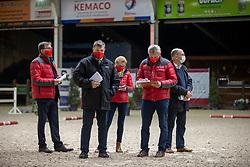 Jury, Oelbrandt Patrick, Tinel Lieven, Schepers Boudewijn, De Waele Jean-Pierre, Meurrens Inge<br /> Hengstenkeuring Brp- Azelhof - Lier  2021<br /> © Hippo Foto - Dirk Caremans<br /> 14/04/2021