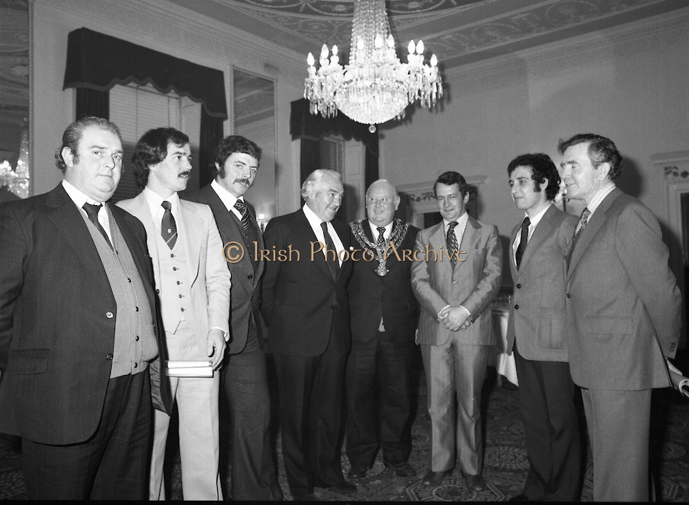Waterford Crystal Glass Factory Announcement. (M36)..1978..28.11.1978..11.28.1978..28th December 1978..A new crystal glass factory for Waterford, providing employment for appromimately 1000 people,was annnounced today by Waterford Glass Ltd.The announcement was made at a reception in The Shelbourne Hotel,Dublin. The Minister for Industry and Commerce, Mr Desmond O'Malley TD was present at the announcement.\.Picture shows some of the Waterford Crystal workers who attended the announcement (L-R) Mr Tony Lemon,representing the maintenance unions,Mr Walter Croke AT&GWU, Waterford, Mr Noel Griffin,Chairman Waterford Glass,Clr Patrick Power ,Mayor of Waterford, Minister O'Malley, Mr Michael Power,Convenor of unions and Mr Declan Cheasty,District Secretary AT&GWU.