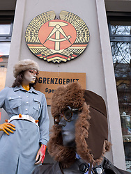 Mannequins standing outside shop specialising in East German products in trendy Prenzlauer Berg district of Berlin Germany