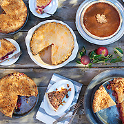 Different pies on table for picnic look and party