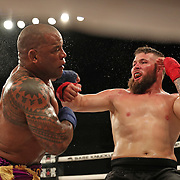 FORT LAUDERDALE, FL - FEBRUARY 15: Hector Lombard (L) gets pushed by David Mundell during the Bare Knuckle Fighting Championships at Greater Fort Lauderdale Convention Center on February 15, 2020 in Fort Lauderdale, Florida. (Photo by Alex Menendez/Getty Images) *** Local Caption *** Hector Lombard; David Mundell