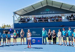 August 5, 2018 - San Jose, CA, U.S. - SAN JOSE, CA - AUGUST 05: Mihaela Buzarnescu (ROU) speaks after winning the WTA Singles Championship at the Mubadala Silicon Valley Classic  at the San Jose State University Stadium Court in San Jose, CA  on Sunday, August 5, 2018. (Photo by Douglas Stringer/Icon Sportswire) (Credit Image: © Douglas Stringer/Icon SMI via ZUMA Press)