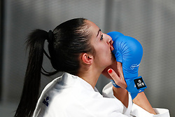 November 10, 2018 - Madrid, Madrid, Spain - Cristina Vizcaino of Spain celebrates the victory and the bronce medal and the third place of Female Kumite for Team tournament during the Finals of Karate World Championship celebrates in Wizink Center, Madrid, Spain, on November 10th, 2018. (Credit Image: © AFP7 via ZUMA Wire)