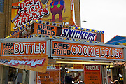 Indiana State Fair stall selling Deepfried chocolate snacks such as Snickers, Cookie Dough, Milky Way and Oreo