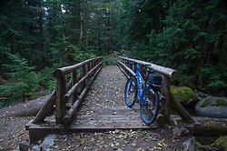 """""""Big Blue"""" Mountain Bike At Rest On Wooden Footbridge Over Marten Creek, Taylor River Road, Mt. Baker Snoqualmie National Forest, Washington, US"""