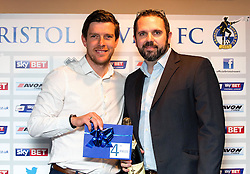 Bristol Rovers Manager Darrell Clarke with the winner of the fourth prize at the Sponsors Draw - Mandatory by-line: Robbie Stephenson/JMP - 15/04/2016 - FOOTBALL - The Memorial Ground - Bristol, England -  v  - Bristol Rovers Sponsor Draw