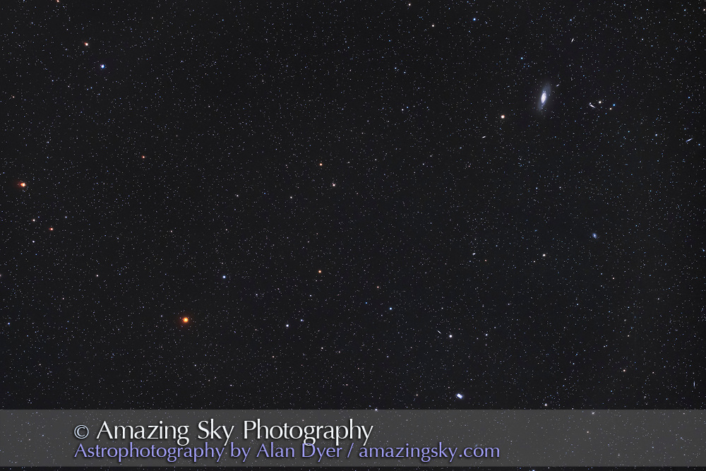 The red carbon star Y Canum Venaticorum, aka La Superba, and the bright Messier galaxy, M106, in a wide field similar to large binoculars. <br /><br />This is a stack of only 4 images at 8 minutes each, with the William Optics 51mm RedCat astrograph at f/4.9 and the Canon EOS Ra at ISO 1600.  There were faint satellite trails in each but a median stack mode eliminated them.