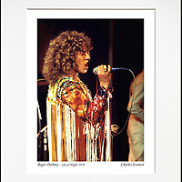 """Roger Daltrey 2 - An affordable archival quality matted print ready for framing at home.<br />  Ideal as a gift or for collectors to cherish, printed on Fuji Crystal Archive photographic paper set in a neutral mat (all mounting materials are acid free conservation grade). <br />  The image (approx 6""""x8"""") sits within a titled border. The outer dimensions of the mat are approx 10""""x12""""."""