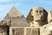 The Great Sphinx of Giza and the Pyramid of Khafre, Giza, Egypt