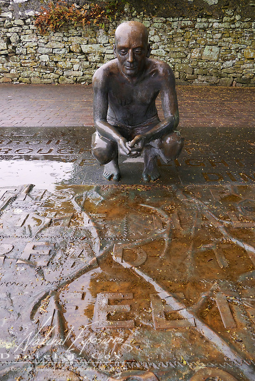 A sculpture of famous Irish poet Willain Butler Yeats at the Drumcliffe Church, Ireland.