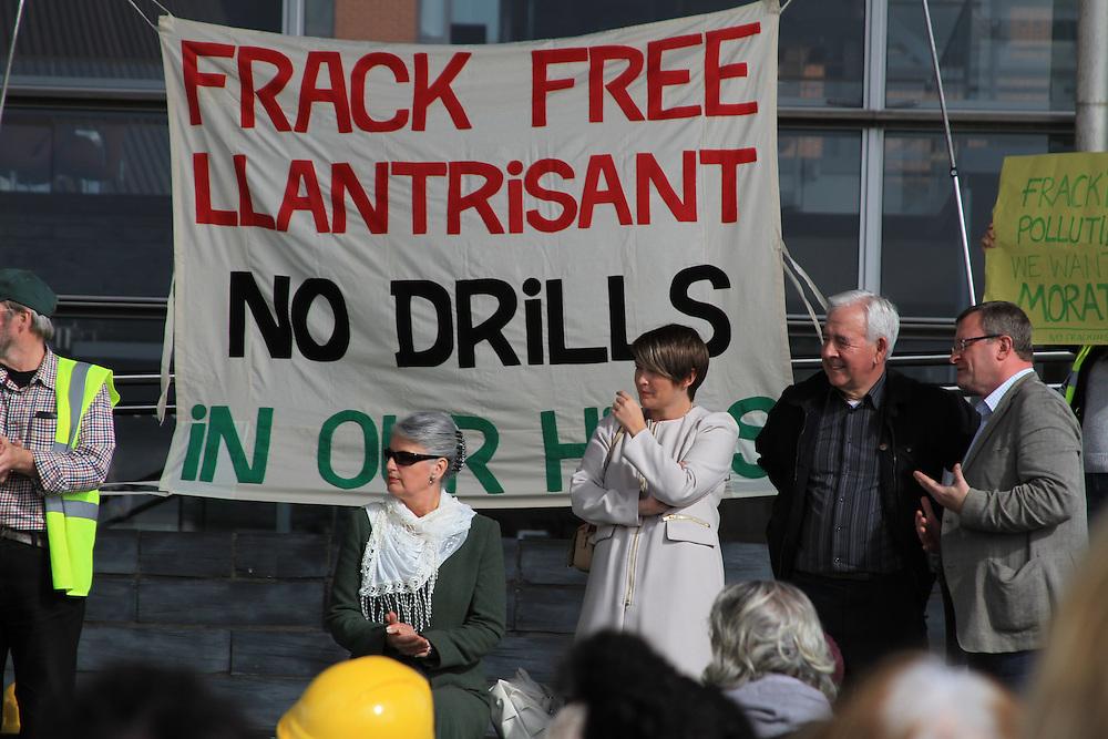 Pippa Bartlotti (Green Party), Bethan Jenkins AM, Lord Dafydd Wigley and William Powell AM speak at an anti-fracking rally outside Y Senedd, Cardiff