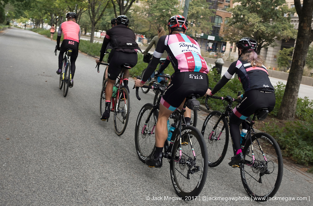 Aspire Racing riders ride with Rapha Cycle Club members in Manhattan, New York City, October 12, 2017.  <br /> <br /> By Jack Megaw.<br /> <br /> www.jackmegaw.com<br /> <br /> jack@jackmegaw.com<br /> @jackmegawphoto<br /> [US] +1 610.764.3094<br /> [UK] +44 07481 764811