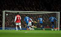 Photo: Ed Godden.<br /> Arsenal v Hamburg. UEFA Champions League, Group G. 21/11/2006. Rafael Van Der Vaart (out of picture) opens the scoring for Hamburg.