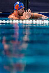 Jorn Winkelhorst of the Netherlands in action against Montenegro during the Olympic qualifying tournament. The Dutch water polo players are on the hunt for a starting ticket for the Olympic Games on February 19, 2021 in Rotterdam