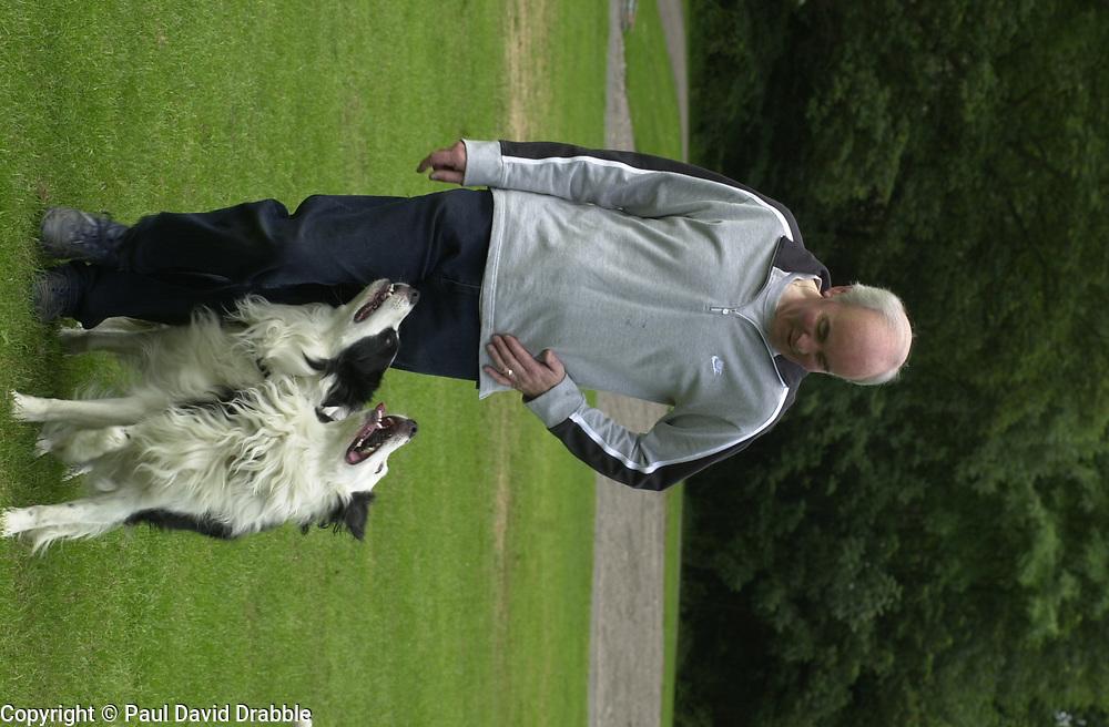 Eddie Sander with his Dogs Jackson and Inka<br /><br />18 June 2004<br /><br />Copyright Paul David Drabble<br /> [#Beginning of Shooting Data Section]<br />Nikon D1 <br /> Focal Length: 80mm<br /> Optimize Image: <br /> Color Mode: <br /> Noise Reduction: <br /> 2004/06/18 09:40:11.5<br /> Exposure Mode: Manual<br /> White Balance: Auto<br /> Tone Comp: Normal<br /> JPEG (8-bit) Fine<br /> Metering Mode: Center-Weighted<br /> AF Mode: AF-S<br /> Hue Adjustment: <br /> Image Size:  2000 x 1312<br /> 1/200 sec - F/7.1<br /> Flash Sync Mode: Not Attached<br /> Saturation: <br /> Color<br /> Exposure Comp.: 0 EV<br /> Sharpening: Normal<br /> Lens: 80-200mm F/2.8<br /> Sensitivity: ISO 200<br /> Image Comment: <br /> [#End of Shooting Data Section]