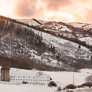 Winter Park City Sunset. The McPolin Barn was purchased by the citizens of Park City in 1990 to enhance the entrance corridor and maintain open space.
