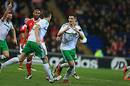 Craig Cathcart of Northern Ireland (20) celebrates after he scores his teams 1st goal. . Wales v Northern Ireland, International football friendly match at the Cardiff City Stadium in Cardiff, South Wales on Thursday 24th March 2016. The teams are preparing for this summer's Euro 2016 tournament.     pic by  Andrew Orchard, Andrew Orchard sports photography.