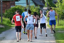 June 17, 2017 - Varnja, Estonia - People going to the mosquito catching ground. Mosquito Catching Championship held in Varnja village at the Peipus Lake coast in Estonia on June 17, 2017. (Credit Image: © Sergei Stepanov/NurPhoto via ZUMA Press)