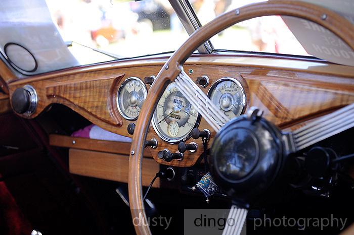 Dashboard, 1951 Riley Drophead Special.<br /> 2011 Classic Car Show, Whiteman Park, Perth, Western Australia. March 20, 2011