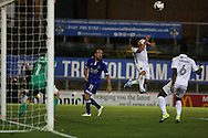 Lee Croft of Oldham Athletic watches and waits for a cross during the EFL Sky Bet League 1 match between Oldham Athletic and Northampton Town at Boundary Park, Oldham, England on 16 August 2016. Photo by Simon Brady.