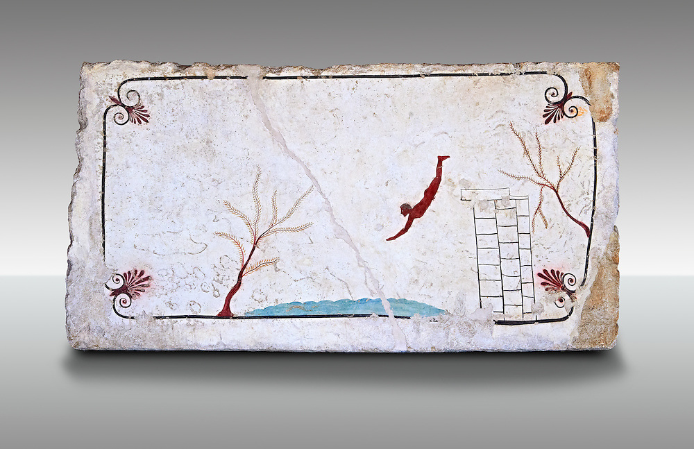 """Greek Fresco on the inside of Tomb of  the Diver  [La Tomba del Truffatore]. This panel is from the lid of the tomb and shows a  diving from a column into water. The column represents the border of thye known world and therefore the limit of man's knowledge.  The dive represents the passage form this world to the next. The tomb is painted with the true fresco technique and its importance lies in being """"the only example of Greek painting with figured scenes dating from the Orientalizing, Archaic, or Classical periods to survive in its entirety.  Paestrum, Andriuolo.  (480-470 BC  ) .<br /> <br /> If you prefer to buy from our ALAMY PHOTO LIBRARY  Collection visit : https://www.alamy.com/portfolio/paul-williams-funkystock - Scroll down and type - Paestum Fresco - into LOWER search box. {TIP - Refine search by adding a background colour as well}.<br /> <br /> Visit our ANCIENT GREEKS PHOTO COLLECTIONS for more photos to download or buy as wall art prints https://funkystock.photoshelter.com/gallery-collection/Ancient-Greeks-Art-Artefacts-Antiquities-Historic-Sites/C00004CnMmq_Xllw"""