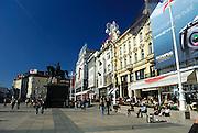 Ban Jelacic Square (trg Bana Jelacica) with statue of Ban Josip Jelacic, Zagreb, Croatia