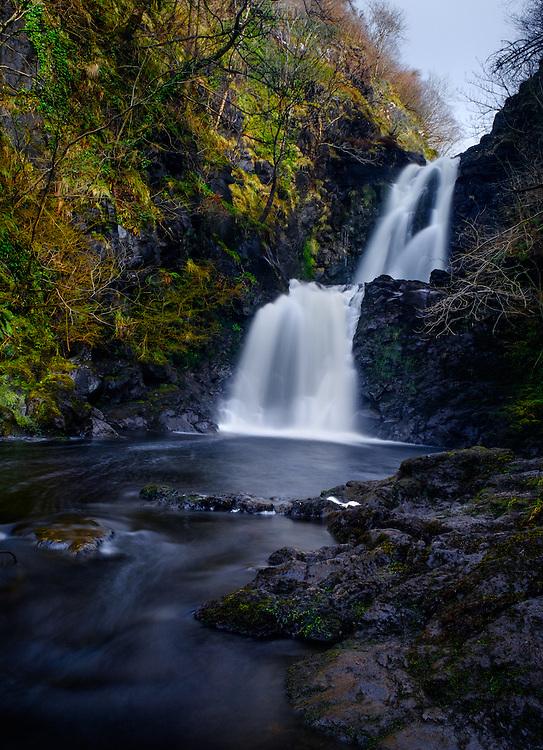 SCOTLAND - CIRCA APRIL 2016: The River Rha Waterfalls close to Uig in Skye an Island in Scotland