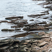 Boulders exposed by the tide at Halibut Point State Park, Rockport, Massachusetts