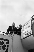 15/03/1964<br /> 03/15/1964<br /> 15 March 1964<br /> Taoiseach Sean Lemass leaves for London to open Irish Week at the London Office of Coras Trachtala and to attend the St. Patrick's night dinner of the N.U.I. Club in London. Picture shows Mr Sean Lemass TD, and Mrs Kathleen Lemass boarding the plane at Dublin Airport.