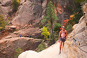 A hiker on the Hidden Canyon Trail, Zion National Park, Utah.  (model released)