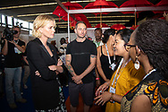 22nd International AIDS Conference (AIDS 2018) Amsterdam, Netherlands.  <br /> Copyright: Steve Forrest/Workers' Photos/ IAS<br /> <br /> Photo shows: Charlize Theron walking around The Global Village.