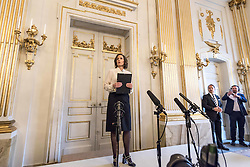 STOCKHOLM, Oct. 13, 2016 (Xinhua) -- Swedish Academy's permanent secretary Sara Danius announces the laureate of the 2016 Nobel Prize in Literature in Stockholm, Sweden, on Oct. 13, 2016. Bob Dylan has won the 2016 Nobel Prize in Literature,''for having created new poetic expressions within the great American song tradition,'' the Swedish Academy announced in Stockholm on Thursday.(Xinhua/Shi Tiansheng) (hy) (Credit Image: © Shi Tiansheng/Xinhua via ZUMA Wire)