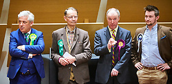 © Licensed to London News Pictures. 09/06/2017. Aylesbury, UK.  Speaker John Bercow (far left) waits to hear the result of the Buckingham constituency in the 2017 general election. Also in this picture (L to R): Michael Sheppard (Green), Brian James Mapletoft (UKIP) and Scott Raven (Independent).  Photo credit: Cliff Hide/LNP