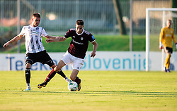 Luka Bobičanec of Mura vs Žan Kumer of Triglav during football match between NK Triglav and NS Mura in 5th Round of Prva liga Telekom Slovenije 2019/20, on August 10, 2019 in Sports park, Kranj, Slovenia. Photo by Vid Ponikvar / Sportida