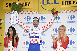 July 25, 2018 - Saint-Lary-Soulan, FRANCE - French Julian Alaphilippe of Quick-Step Floors celebrates on the podium in the red polka-dot jersey for best climber after the 17th stage of the 105th edition of the Tour de France cycling race, from Bagneres-de-Luchon to Saint-Lary-Soulan (65 km), France, Wednesday 25 July 2018. This year's Tour de France takes place from July 7th to July 29th. BELGA PHOTO YORICK JANSENS (Credit Image: © Yorick Jansens/Belga via ZUMA Press)