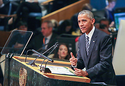 September 20, 2016 - Manhattan, New York, U.S - President BARACK OBAMA addresses the United Nations General Assembly this morning, his final speech before the international governing body. He spoke of the Paris Climate accord and the Iran nuclear deal. (Credit Image: © Nancy Siesel via ZUMA Wire)