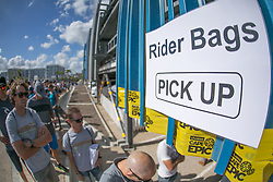 Riders picking up their bags during the pre race events held at the V&A Waterfront in Cape Town prior to the start of the 2017 Absa Cape Epic Mountain Bike stage race held in the Western Cape, South Africa between the 19th March and the 26th March 2017<br /> <br /> Photo by Mark Sampson/Cape Epic/SPORTZPICS<br /> <br /> PLEASE ENSURE THE APPROPRIATE CREDIT IS GIVEN TO THE PHOTOGRAPHER AND SPORTZPICS ALONG WITH THE ABSA CAPE EPIC<br /> <br /> ace2016
