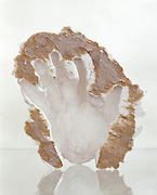 in the form of a hand plaster mold