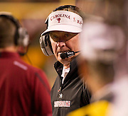 Nov 5, 2011; Fayetteville, AR, USA;  South Carolina head coach Steve Spurrier looks down the line during the second half of a game against the Arkansas Razorbacks at Donald W. Reynolds Stadium.  Mandatory Credit: Beth Hall-US PRESSWIRE