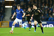 Seamus Coleman of Everton (l) looks to get away from Ben Chilwell of Leicester City. Premier league match, Everton v Leicester City at Goodison Park in Liverpool, Merseyside on Wednesday 31st January 2018.<br /> pic by Chris Stading, Andrew Orchard sports photography.