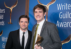 February 17, 2019 - Los Angeles, California, United States of America - Topher Grace (L) and Bo Burnham, winner of Original Screenplay, pose in the press room of the 2019 Writers Guild Awards at the Beverly Hilton Hotel on Sunday February 17, 2019 in Beverly Hills, California. JAVIER ROJAS/PI (Credit Image: © Prensa Internacional via ZUMA Wire)