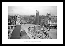 The ruins of Nelson's Pillar at O'Connell Street in Dublin on 8th March 1966.<br /> Nelson's Pillar was built in 1808-1809 among the first and grandest monuments in memory of Horatio Nelson in the United Kingdom.<br /> It was destroyed in March 1966 by a bomb planted by irish republicans.<br /> View more historical snap-shots of irish monuments at www.irishphotoarchive.ie