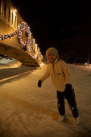 Jessica Laman (age 9) Ice scating at a pond in Jackson, New Hampshire