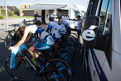 Cervélo-Bigla Cycling Team riders warm up for the Crescent Vargarda - a 42.5 km team time trial, starting and finishing in Vargarda on August 11, 2017, in Vastra Gotaland, Sweden. (Photo by Balint Hamvas/Velofocus.com)