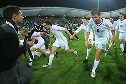 Slovenian players Miso Brecko (2), Andrej Komac (3), Darijan Matic (15), Bostjan Cesar (5), Andraz Kirm (17) and Valter Birsa (10) celebrate at the fourth round qualification game of 2010 FIFA WORLD CUP SOUTH AFRICA in Group 3 between Slovenia and Northern Ireland at Stadion Ljudski vrt, on October 11, 2008, in Maribor, Slovenia.  (Photo by Vid Ponikvar / Sportal Images)